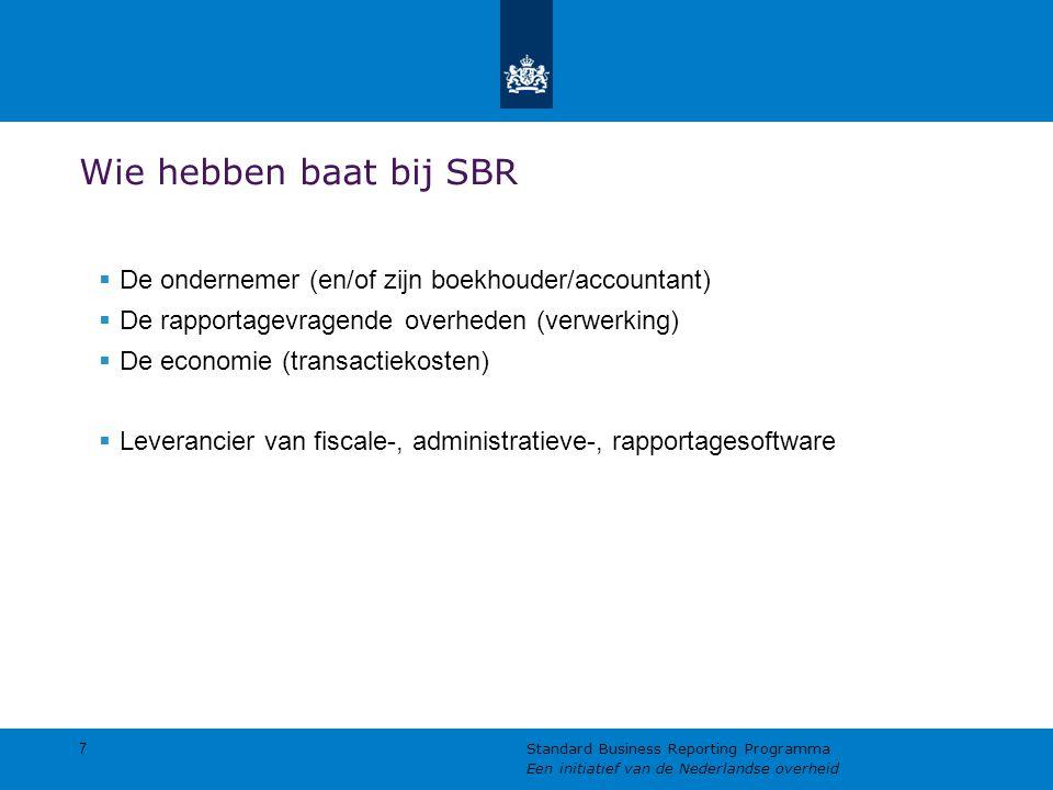 Wie hebben baat bij SBR De ondernemer (en/of zijn boekhouder/accountant) De rapportagevragende overheden (verwerking)