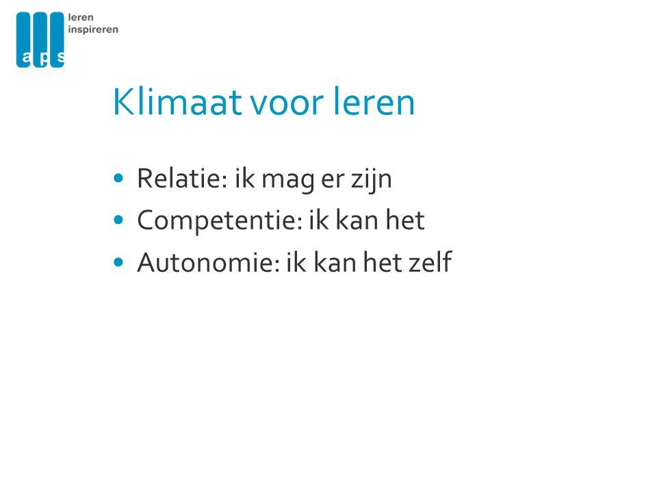 Klimaat voor leren Relatie: ik mag er zijn Competentie: ik kan het