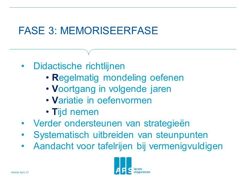 FASE 3: MEMORISEERFASE Didactische richtlijnen