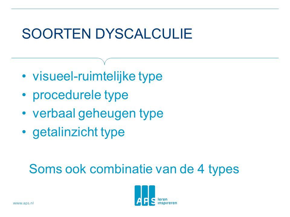 Soorten dyscalculie visueel-ruimtelijke type procedurele type
