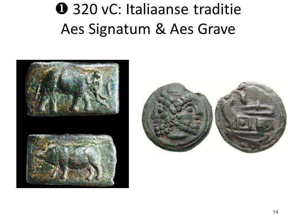  320 vC: Italiaanse traditie Aes Signatum & Aes Grave