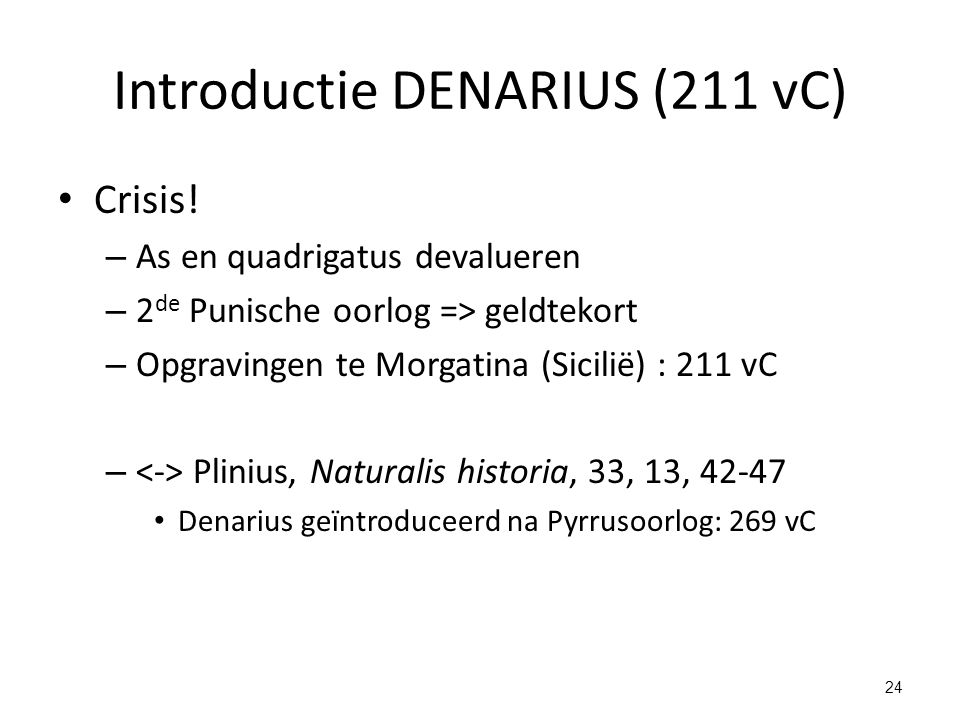Introductie DENARIUS (211 vC)
