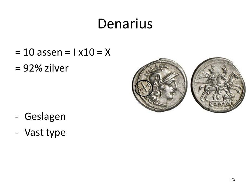 Denarius = 10 assen = I x10 = X = 92% zilver Geslagen Vast type