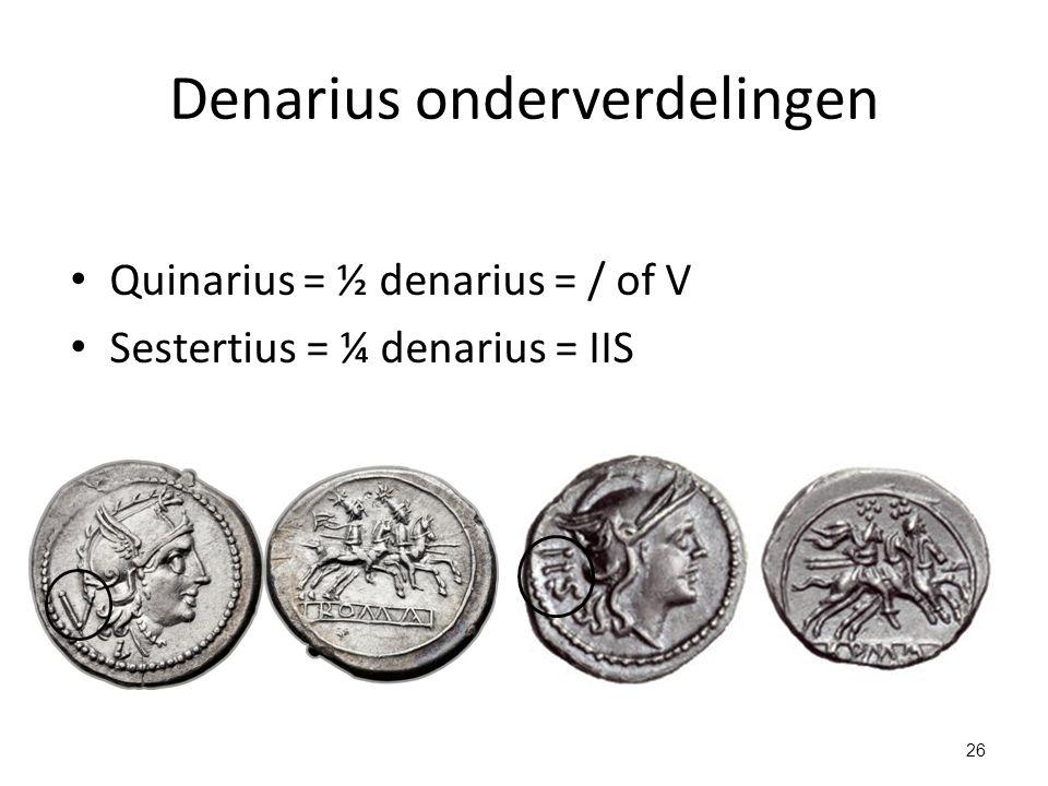 Denarius onderverdelingen