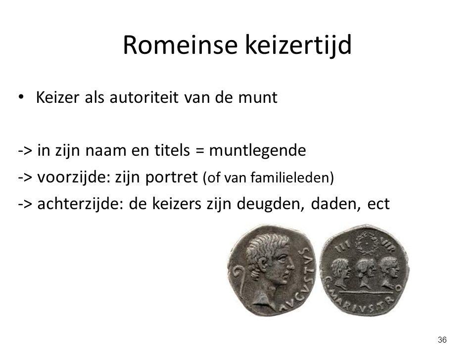 Romeinse keizertijd Keizer als autoriteit van de munt