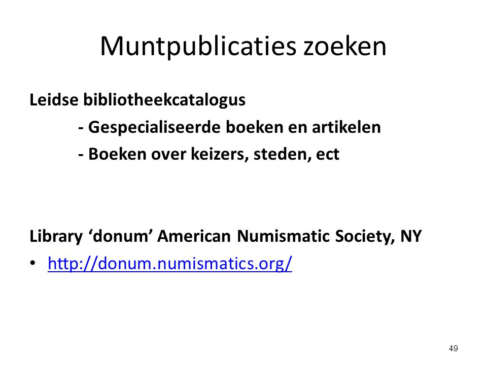 Muntpublicaties zoeken