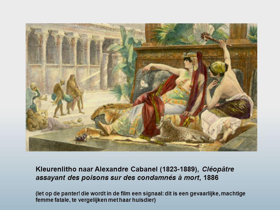Kleurenlitho naar Alexandre Cabanel (1823-1889), Cléopâtre assayant des poisons sur des condamnés à mort, 1886