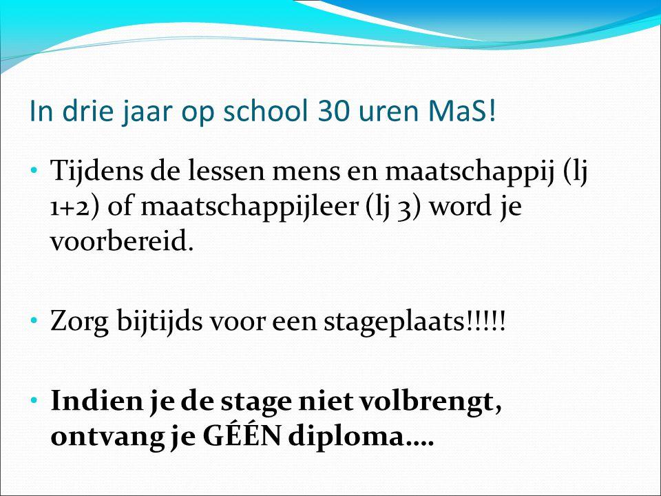 In drie jaar op school 30 uren MaS!