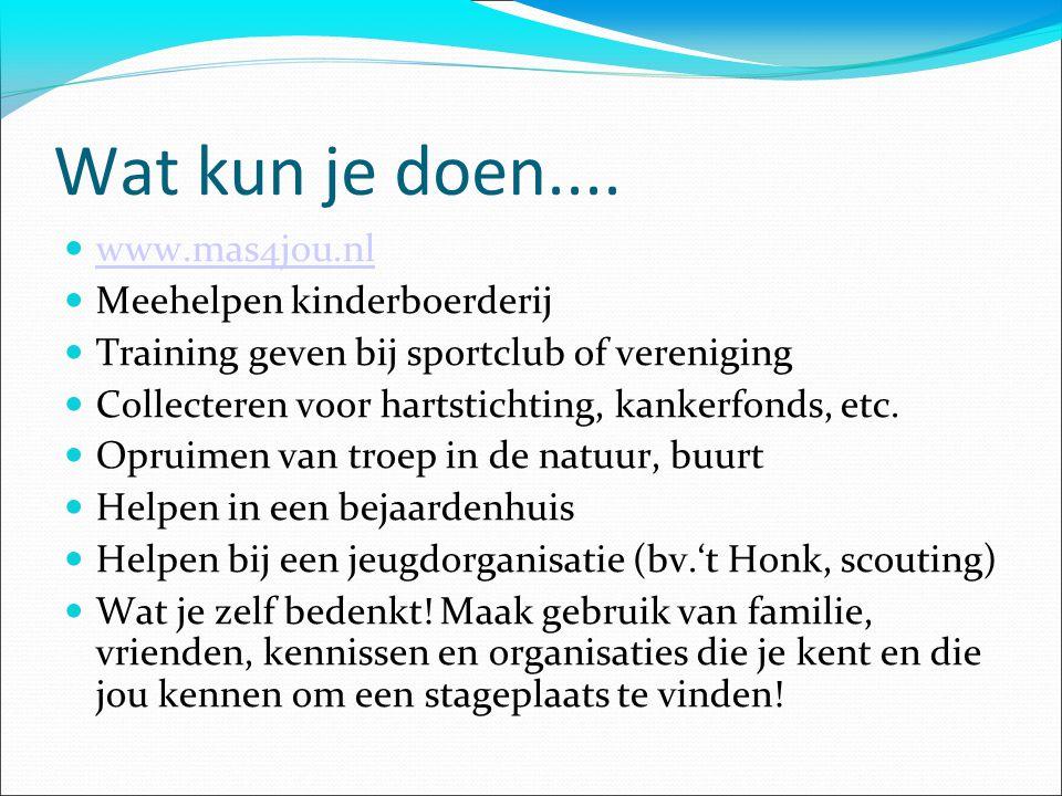 Wat kun je doen.... www.mas4jou.nl Meehelpen kinderboerderij