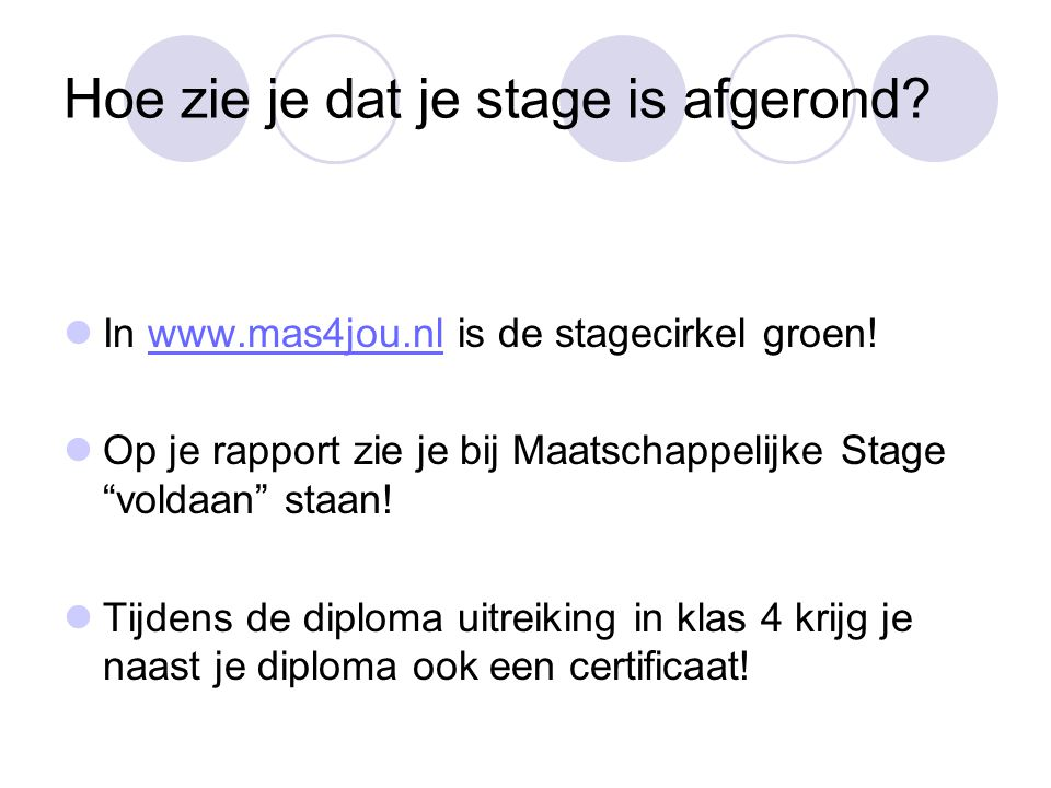 Hoe zie je dat je stage is afgerond