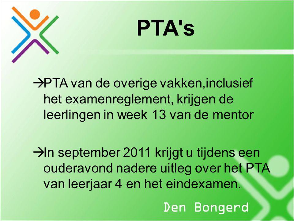 PTA s PTA van de overige vakken,inclusief het examenreglement, krijgen de leerlingen in week 13 van de mentor.