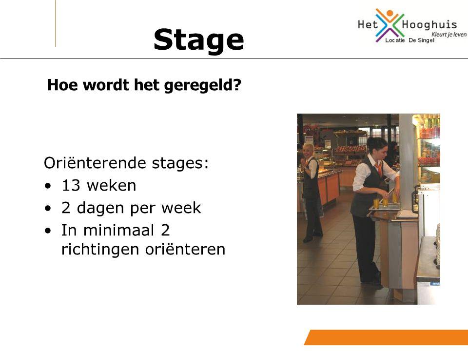 Stage Hoe wordt het geregeld Oriënterende stages: 13 weken