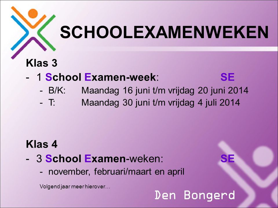 SCHOOLEXAMENWEKEN Klas 3 1 School Examen-week: SE Klas 4