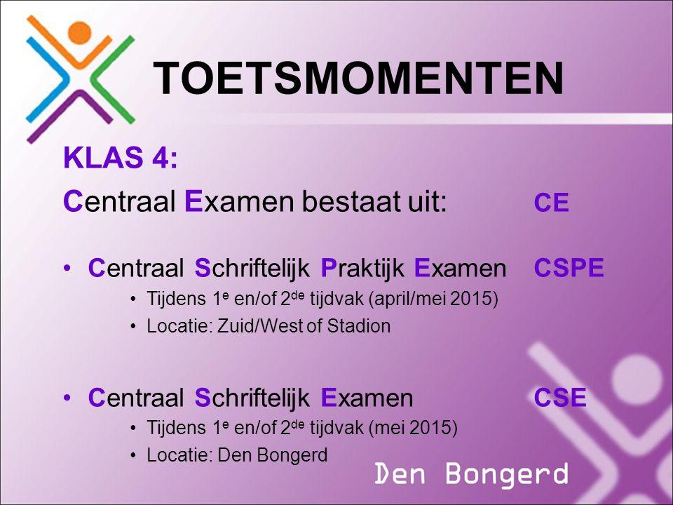 TOETSMOMENTEN KLAS 4: Centraal Examen bestaat uit: CE