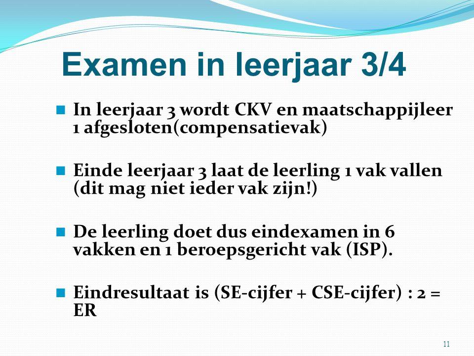Examen in leerjaar 3/4 In leerjaar 3 wordt CKV en maatschappijleer 1 afgesloten(compensatievak)