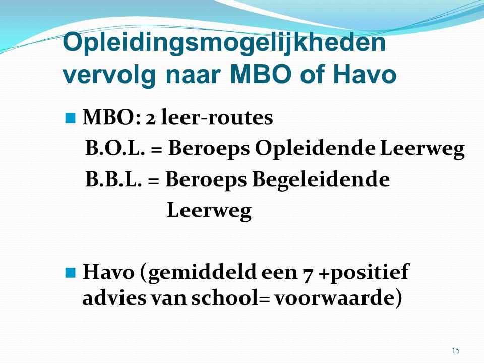 Opleidingsmogelijkheden vervolg naar MBO of Havo