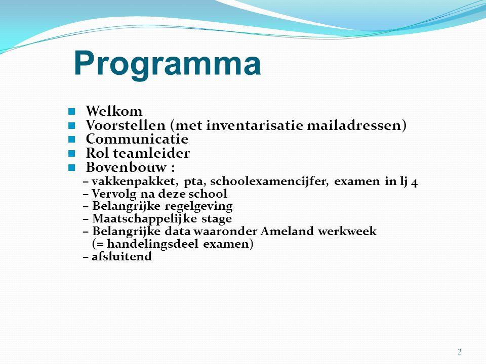 Programma Welkom Voorstellen (met inventarisatie mailadressen)