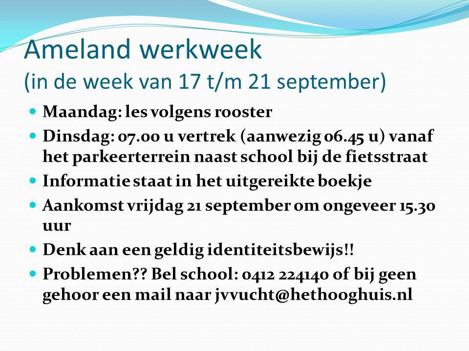 Ameland werkweek (in de week van 17 t/m 21 september)