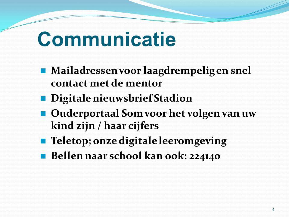 Communicatie Mailadressen voor laagdrempelig en snel contact met de mentor. Digitale nieuwsbrief Stadion.