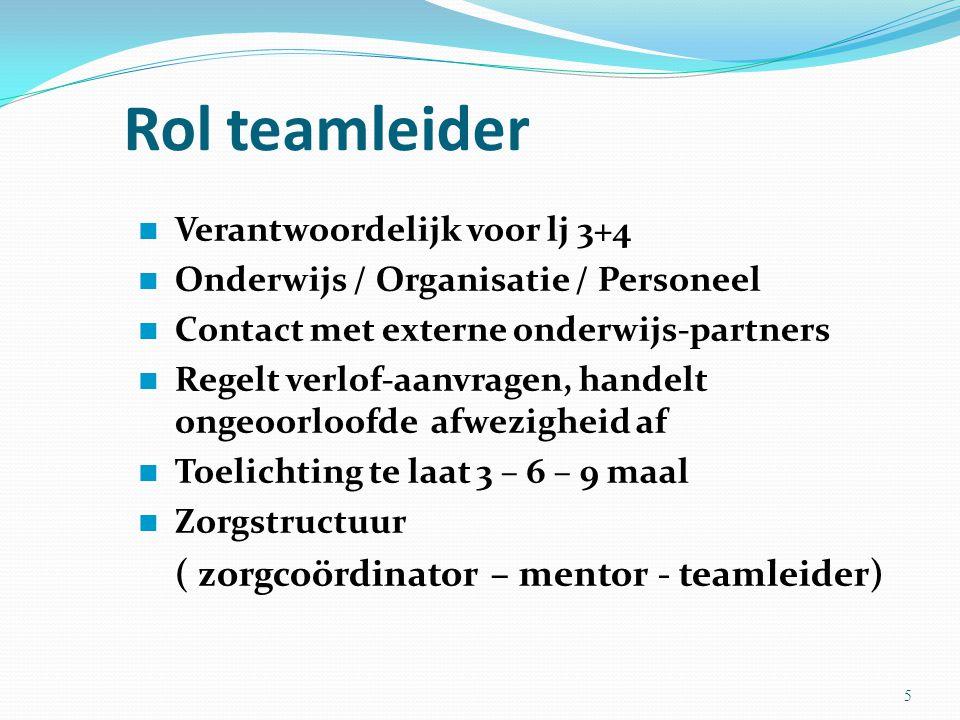 Rol teamleider ( zorgcoördinator – mentor - teamleider)