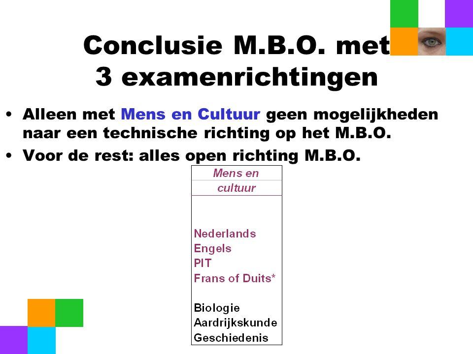 Conclusie M.B.O. met 3 examenrichtingen