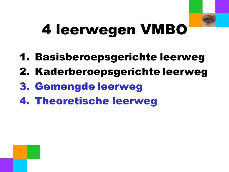 4 leerwegen VMBO Basisberoepsgerichte leerweg