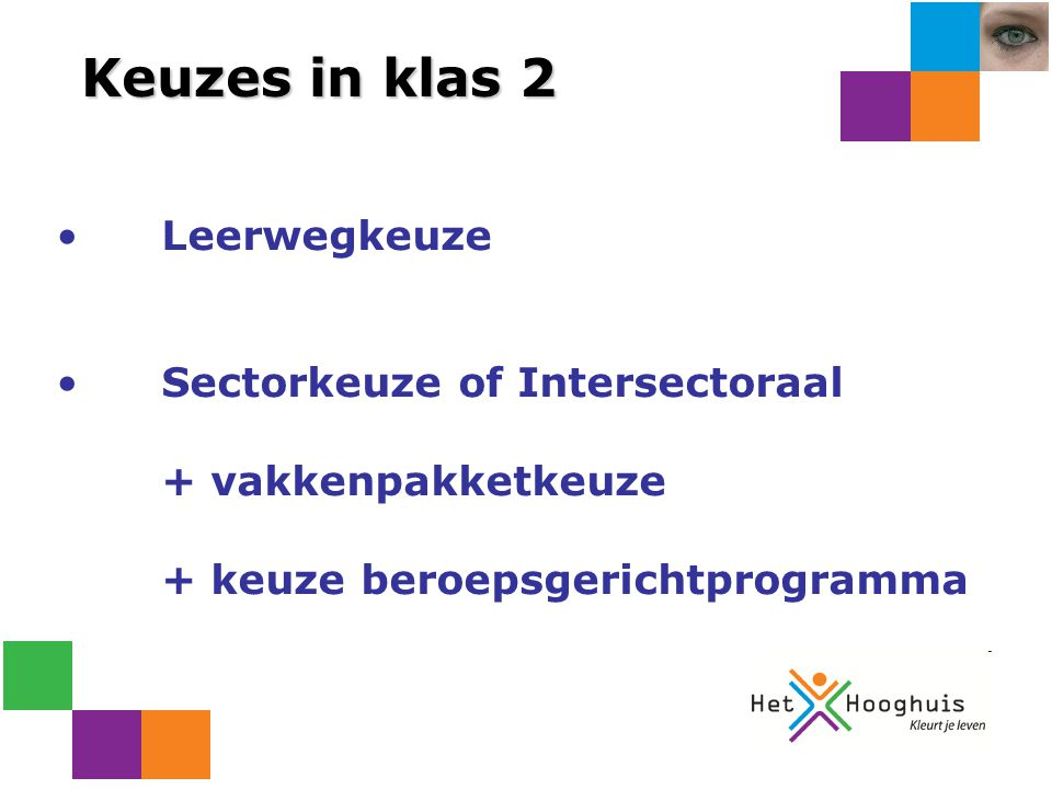 Keuzes in klas 2 Leerwegkeuze Sectorkeuze of Intersectoraal
