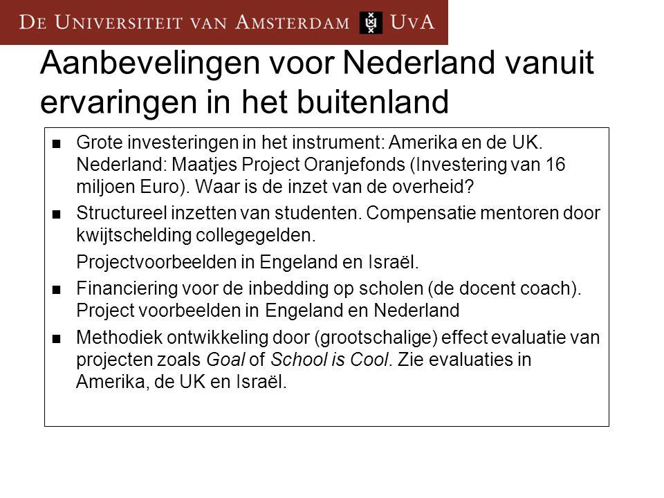 Aanbevelingen voor Nederland vanuit ervaringen in het buitenland