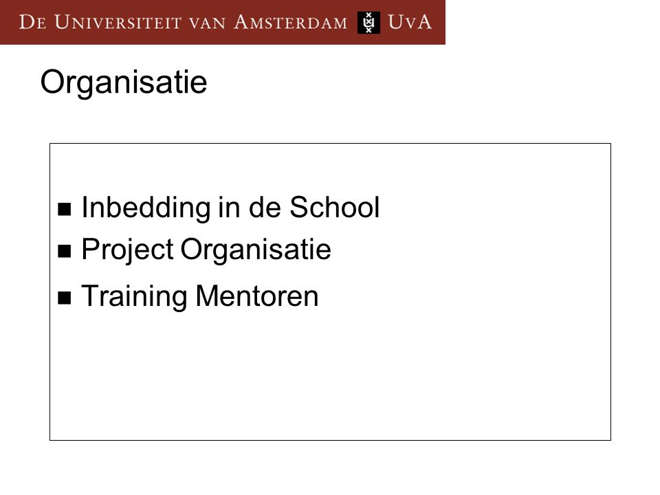 Organisatie Inbedding in de School Project Organisatie