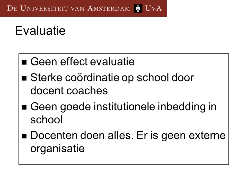 Evaluatie Geen effect evaluatie
