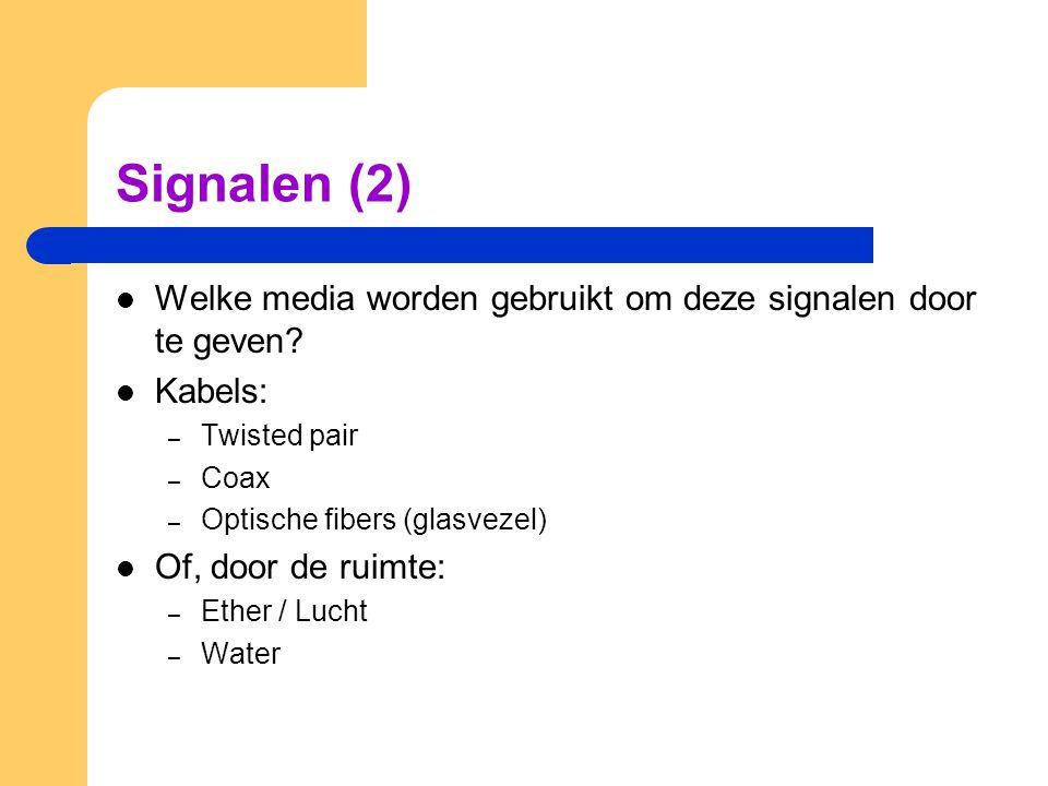 Signalen (2) Welke media worden gebruikt om deze signalen door te geven Kabels: Twisted pair. Coax.