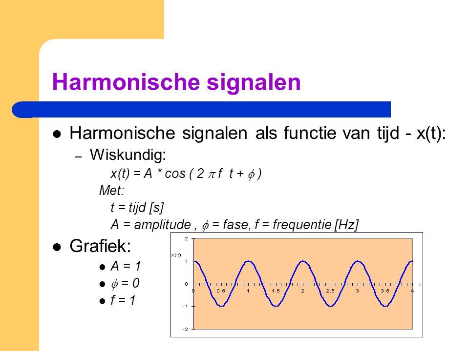 Harmonische signalen Harmonische signalen als functie van tijd - x(t):