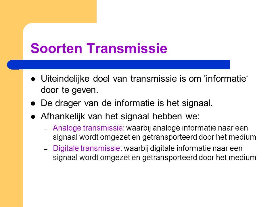 Soorten Transmissie Uiteindelijke doel van transmissie is om informatie' door te geven. De drager van de informatie is het signaal.