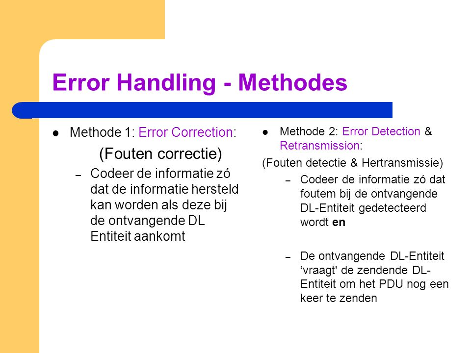 Error Handling - Methodes