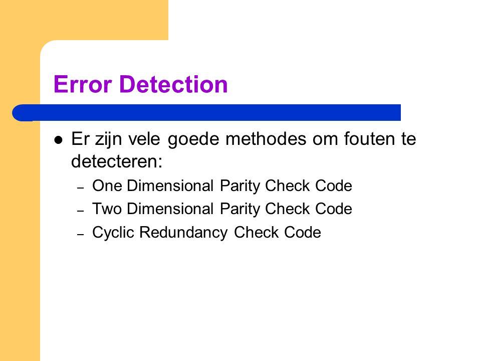 Error Detection Er zijn vele goede methodes om fouten te detecteren: