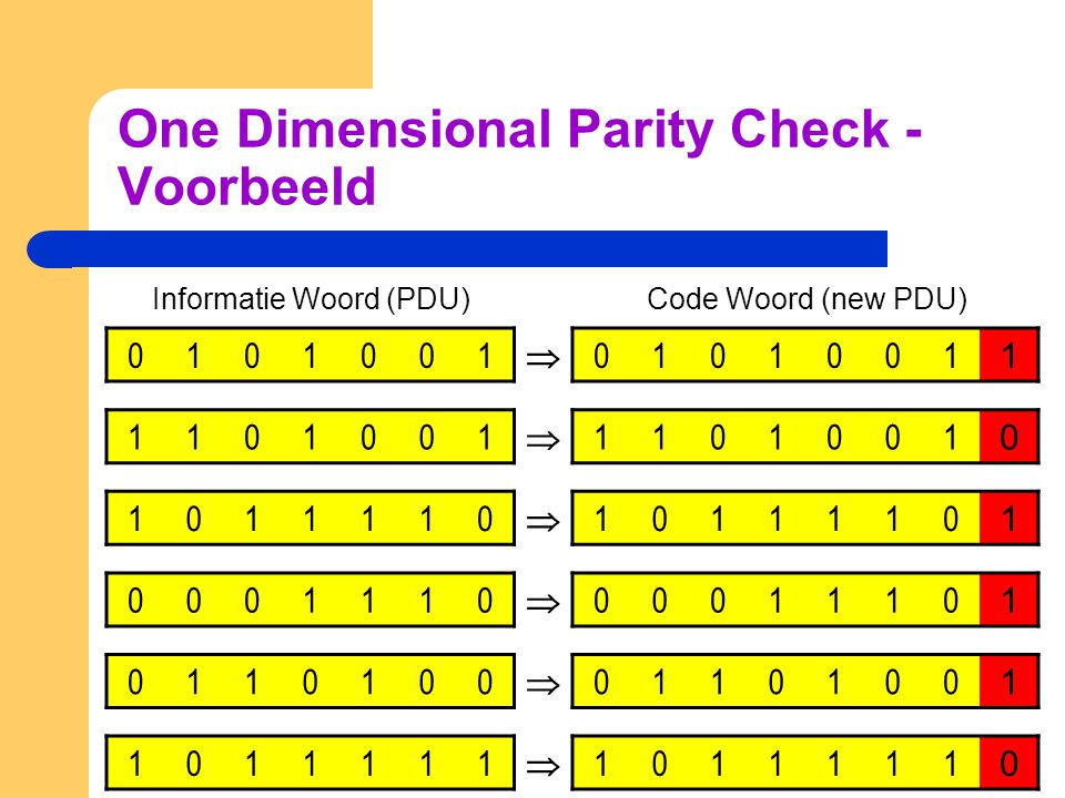 One Dimensional Parity Check - Voorbeeld