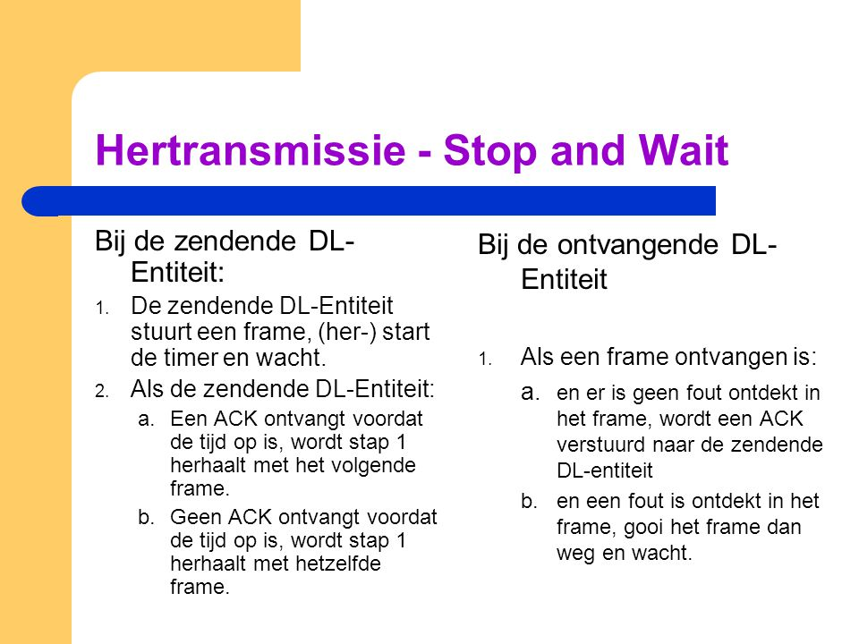 Hertransmissie - Stop and Wait