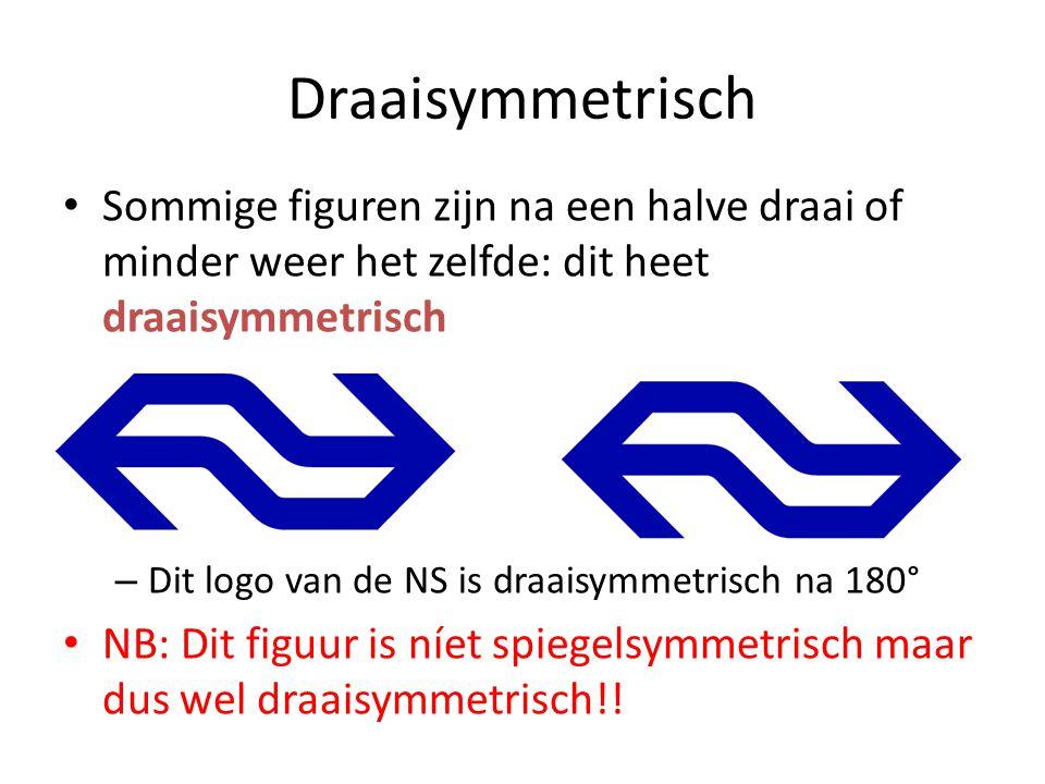 Draaisymmetrisch Sommige figuren zijn na een halve draai of minder weer het zelfde: dit heet draaisymmetrisch.