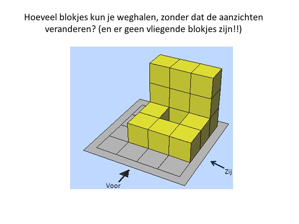 Hoeveel blokjes kun je weghalen, zonder dat de aanzichten veranderen