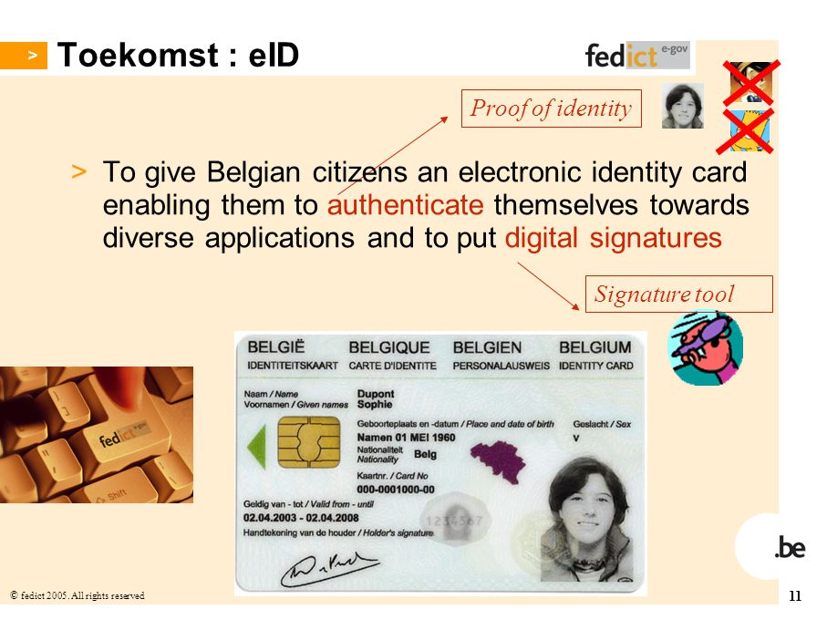 Toekomst : eID Proof of identity.