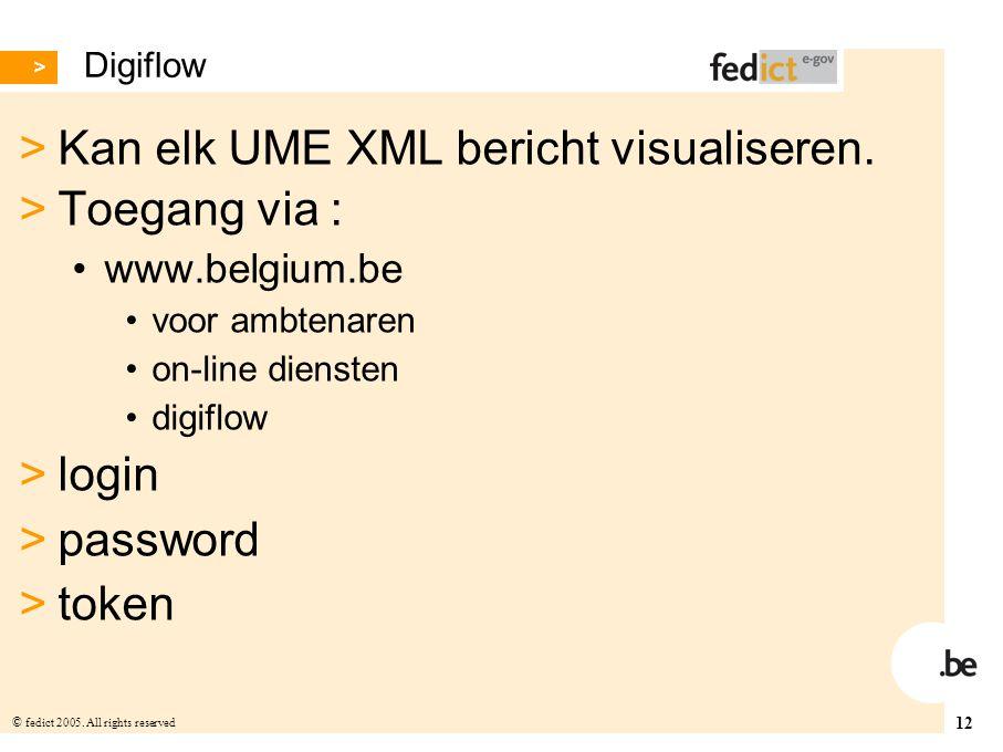 Kan elk UME XML bericht visualiseren. Toegang via :