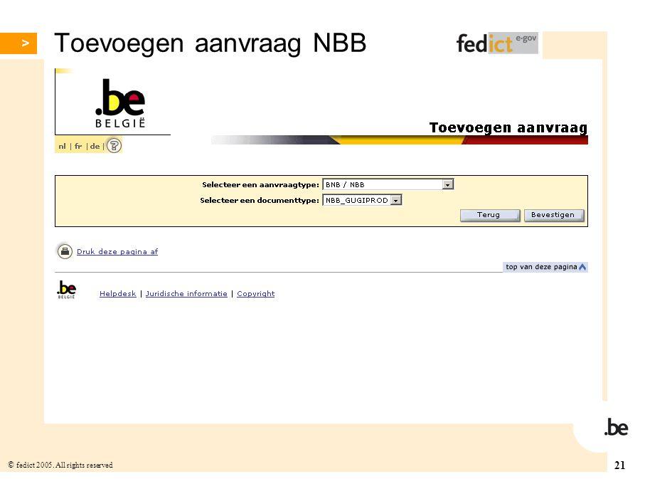 Toevoegen aanvraag NBB