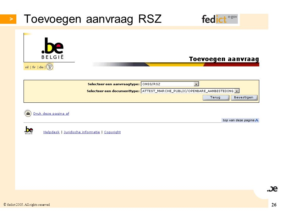 Toevoegen aanvraag RSZ
