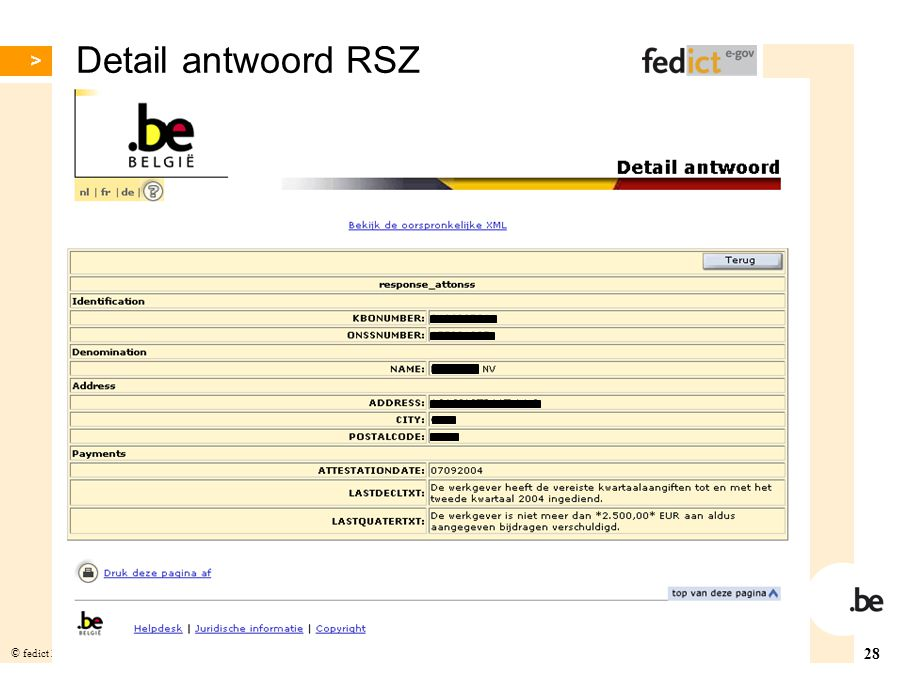 Detail antwoord RSZ