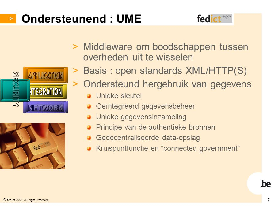 SECURITY APPLICATION INTEGRATION NETWORK Ondersteunend : UME