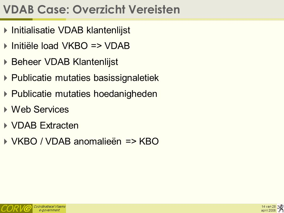 VDAB Case: Overzicht Vereisten