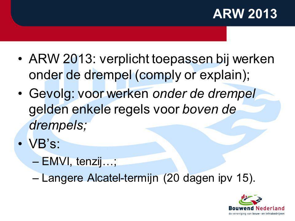 ARW 2013 ARW 2013: verplicht toepassen bij werken onder de drempel (comply or explain);