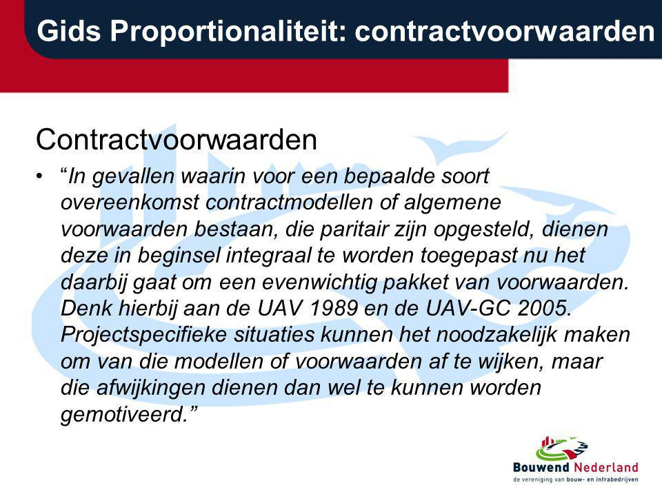 Gids Proportionaliteit: contractvoorwaarden