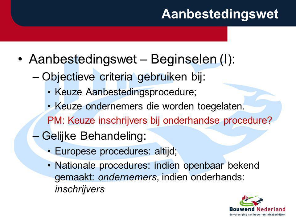 Aanbestedingswet – Beginselen (I):