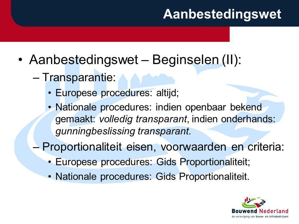Aanbestedingswet – Beginselen (II):